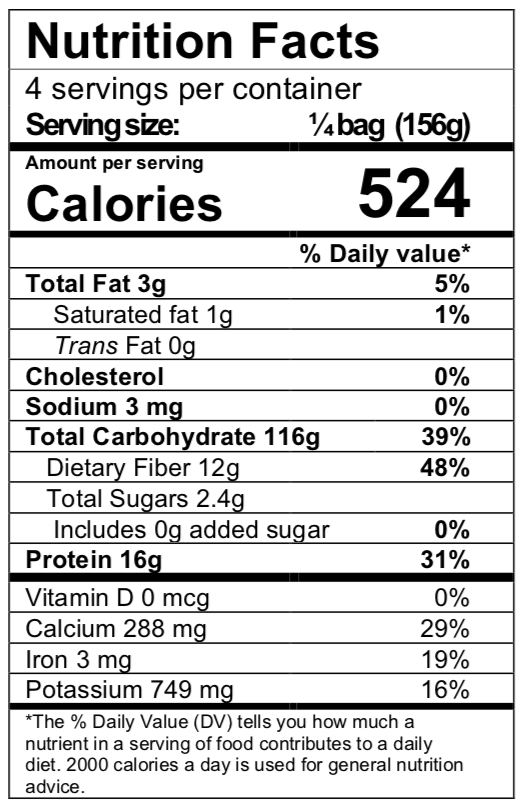 Nutrition facts panel for Make It GF flour